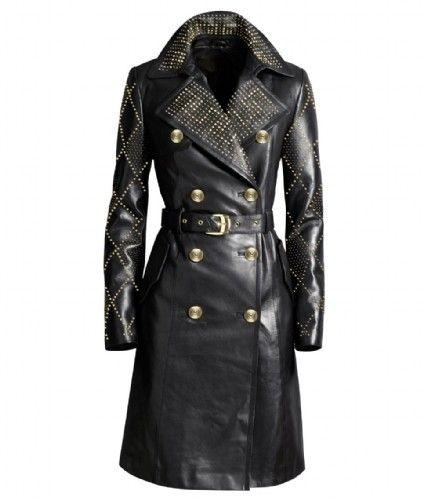 Versace For H M Skorzany Skora Nowy Plaszcz Leather Coat Jacket Long Leather Coat Leather Trench Coat