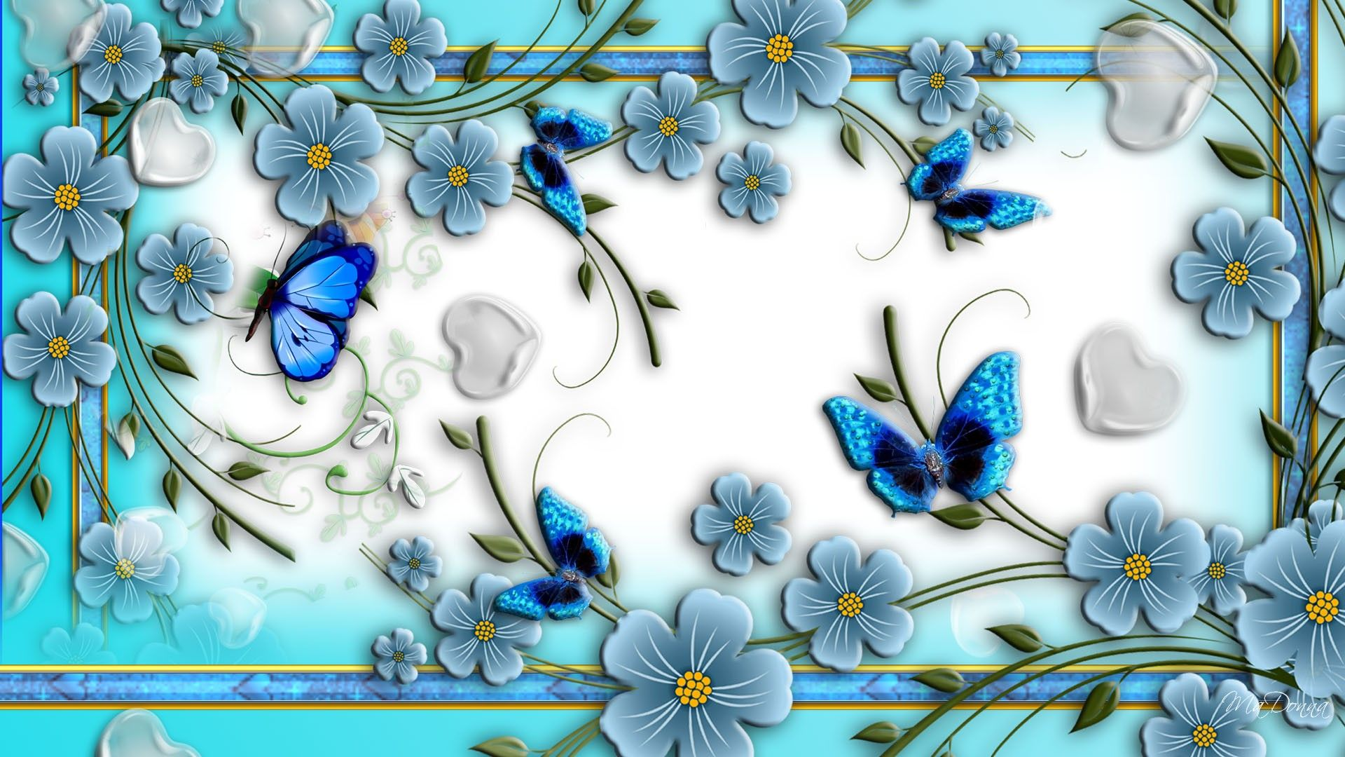 Download Blue Butterflies Abstract Flowers Unique Nature