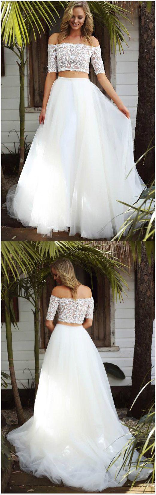 Twopiece prom dressoff shoulder half sleeves prom dresscheap prom