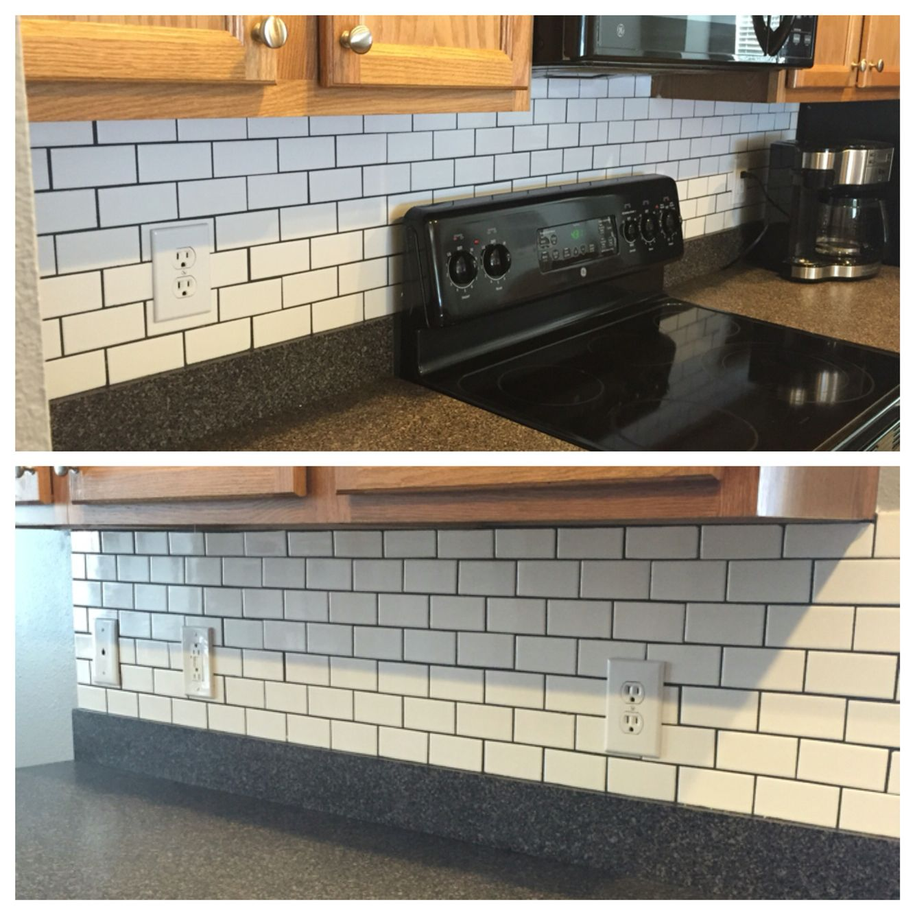 - Installed New Backsplash! Small White Subway Tiles With Charcoal