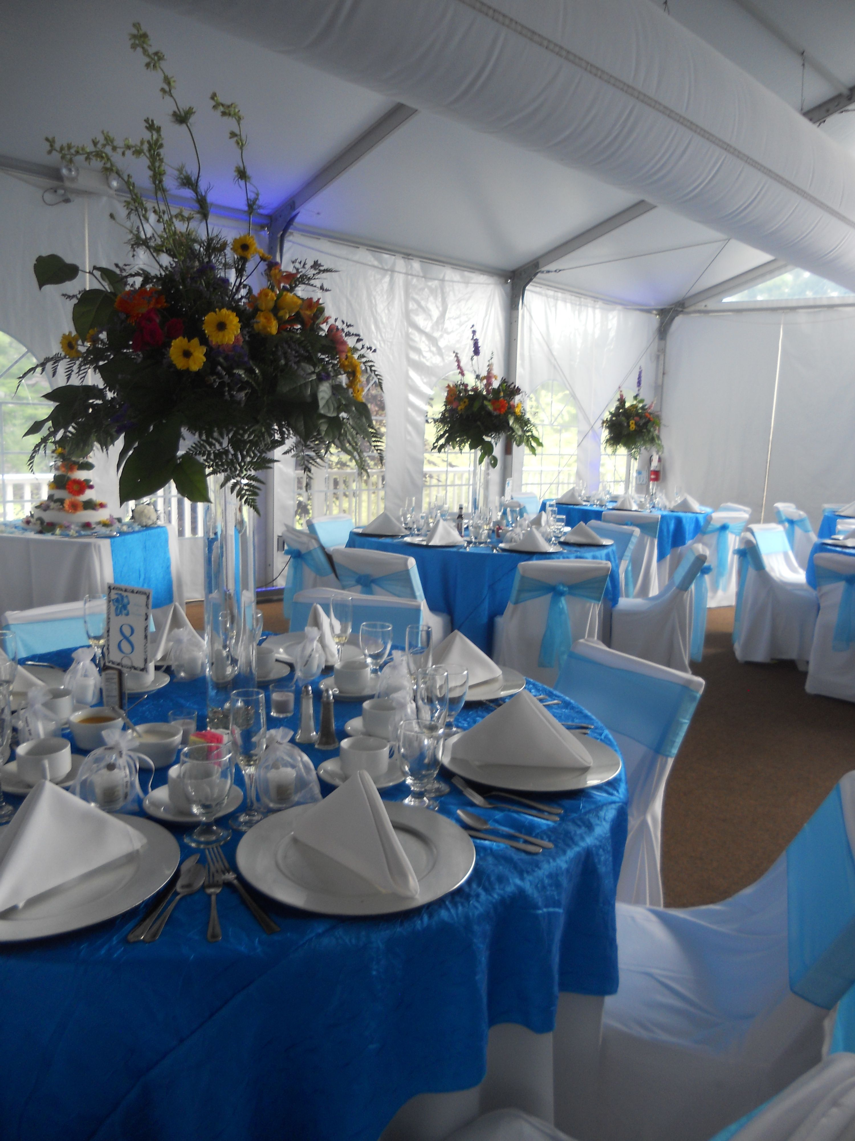 Blue Wedding In The Tent At Sand Springs Country Club Blue
