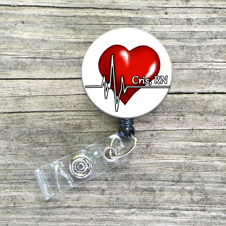 Cardiac heart ekg nurse rn telemetry custom id badge reel