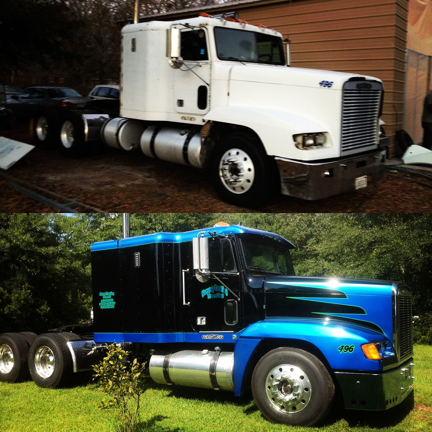 Before and after on freightliner paint jobs and car stuff pinterest car stuff transportation and cars