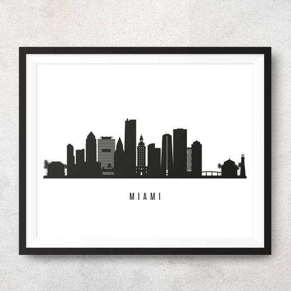 Miami Skyline Printable Miami Black White Wall Art Miami Etsy Black And White Wall Art White Wall Art Miami Skyline