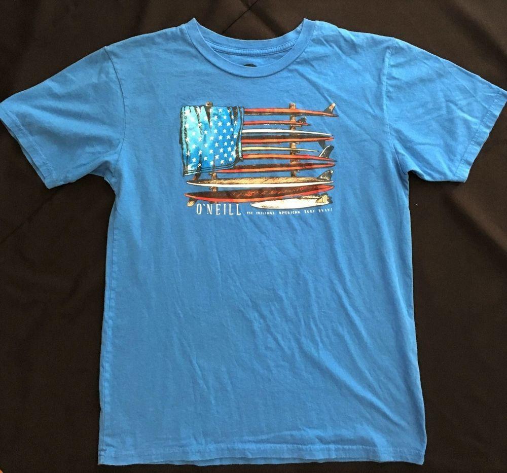 O'Neill Surf Shop Womens Surfboard American Flag Bright Blue Surfer T-Shirt  Sz M