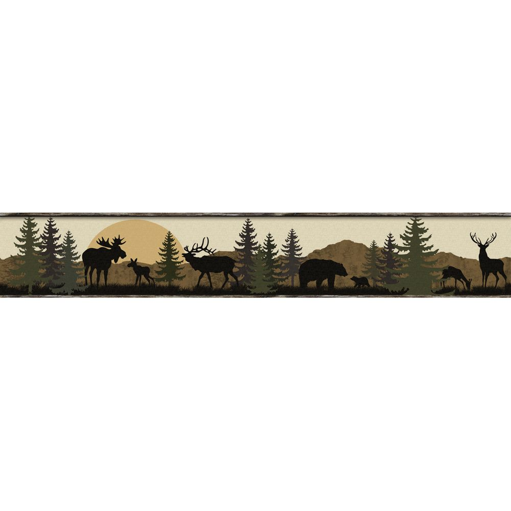 Wildlife Scenic Silhouette Wallpaper Border York
