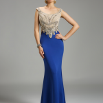 LARA 32466 - $738.00. Fitted blue dress.  #longdress #beaded #fitted #bluedress #holidaydress #partydress #promdress #prom2015 #promoutfitters