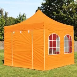 Photo of 3×3 m Faltpavillon Professional Alu 40 mm, Seitenteile mit Rundbogenfenstern, orange Faltzelt, Klapp