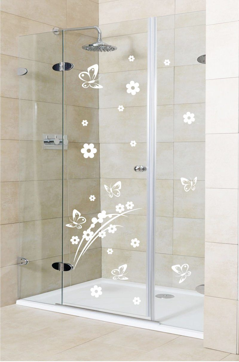 Shower door vinyl decal 2 bedeck your shower door with this elegant shower door vinyl