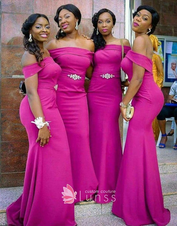 Fashion Off-the-shoulder Magenta FDY Mermaid Long Bridesmaid Dresses ... 5975df539135