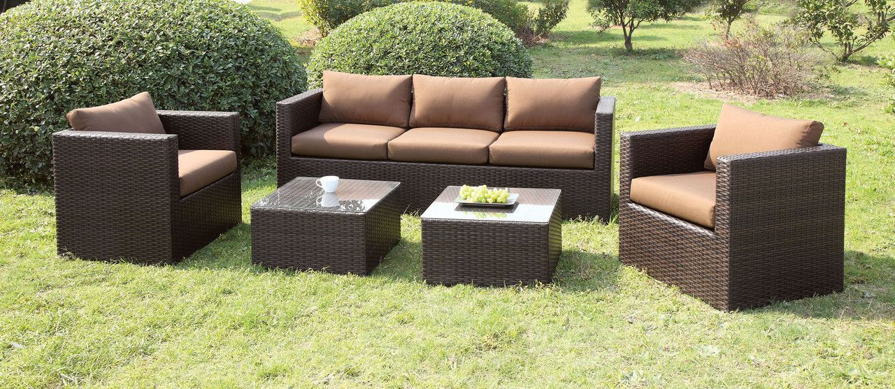 CM-OS1820BR Outdoor Patio Set Olina CollectionSit in style and enjoy the sun with this beautiful outdoor sofa. The sleektrack arms steadily encase the fabric cushions and pillows whilewrapped in a tight wicker frame. This patio set includes a sofa, 2 chairsand 2 tables.• Contemporary Style• Clear Tempered Glass Top• UV
