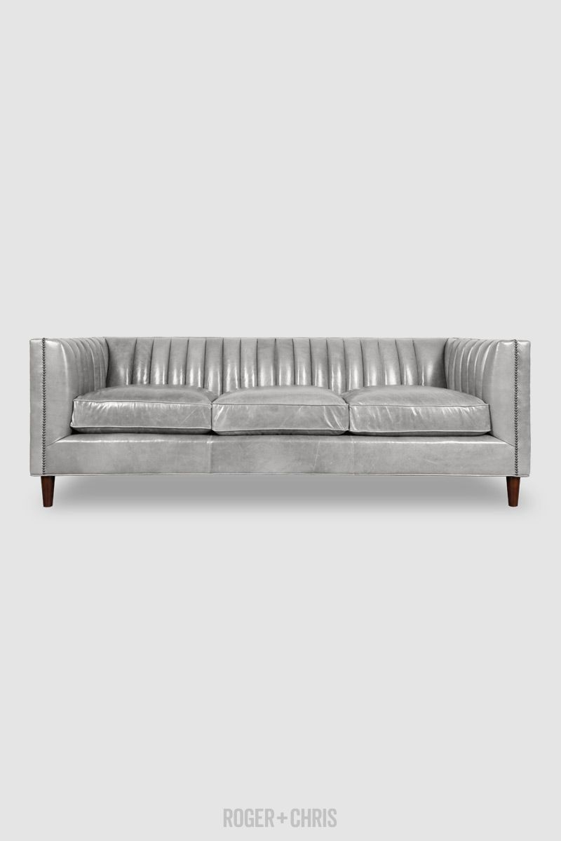 Grey Leather Sofa Modern Gray Leather Sofa Channel Tufted Grey