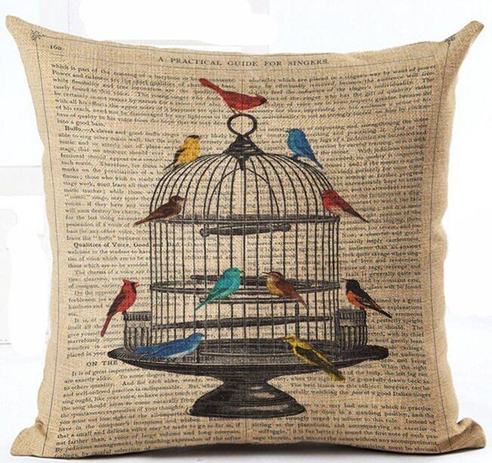 Cute Cat Reading Book Aremazing Cartoon Animal Cotton Linen Home Decor Pillowcase Throw Pillow Cushion Cover 18 x 18 Inches