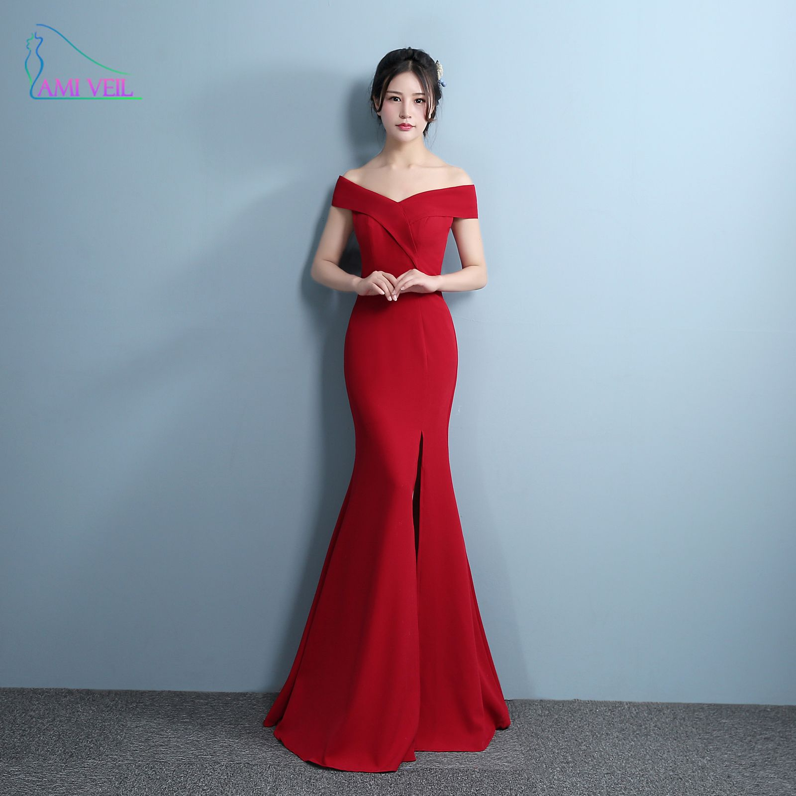 Mermaid designer evening gowns side split red prom dress sexy long
