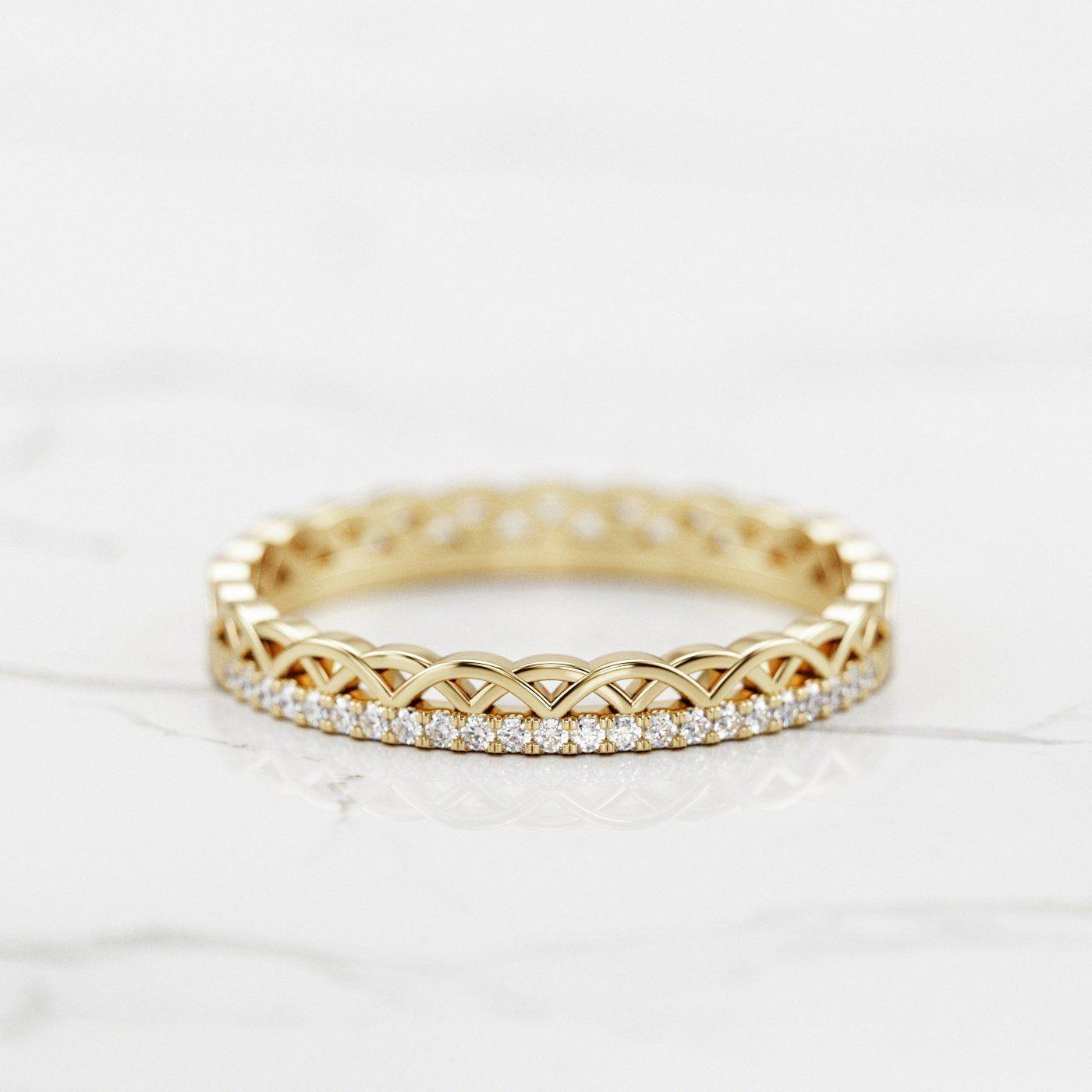 Dainty Celtic Diamond Ring / Celtic Crown Wedding Band