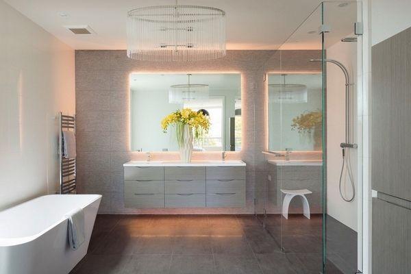 backlit mirror design ideas stylish bathroom design crystal