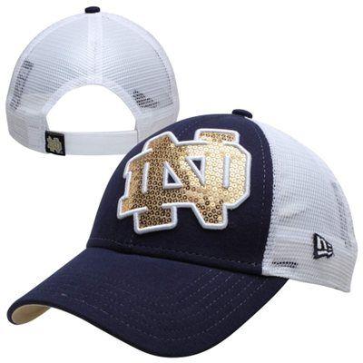 New Era Notre Dame Fighting Irish Ladies NCAA Sequin Shimmer Hat - Navy Blue/White