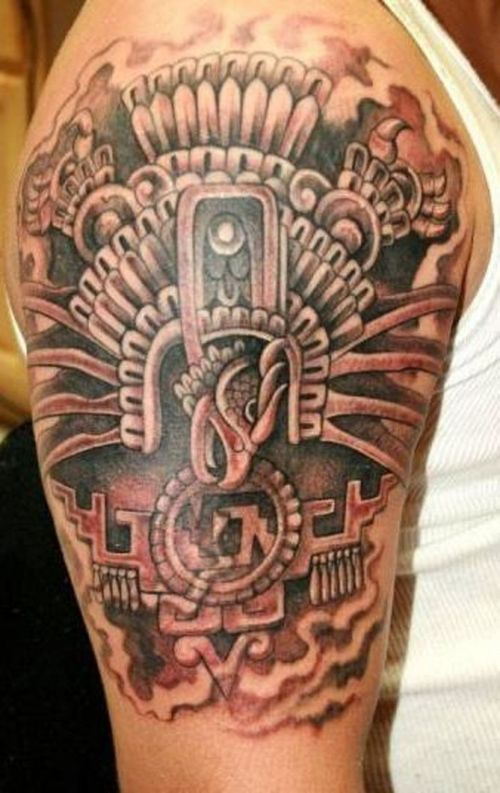 a01cdc0e668c6 Man Left Half Sleeve Aztec Tattoo Idea | Chicano por Vida | Aztec ...