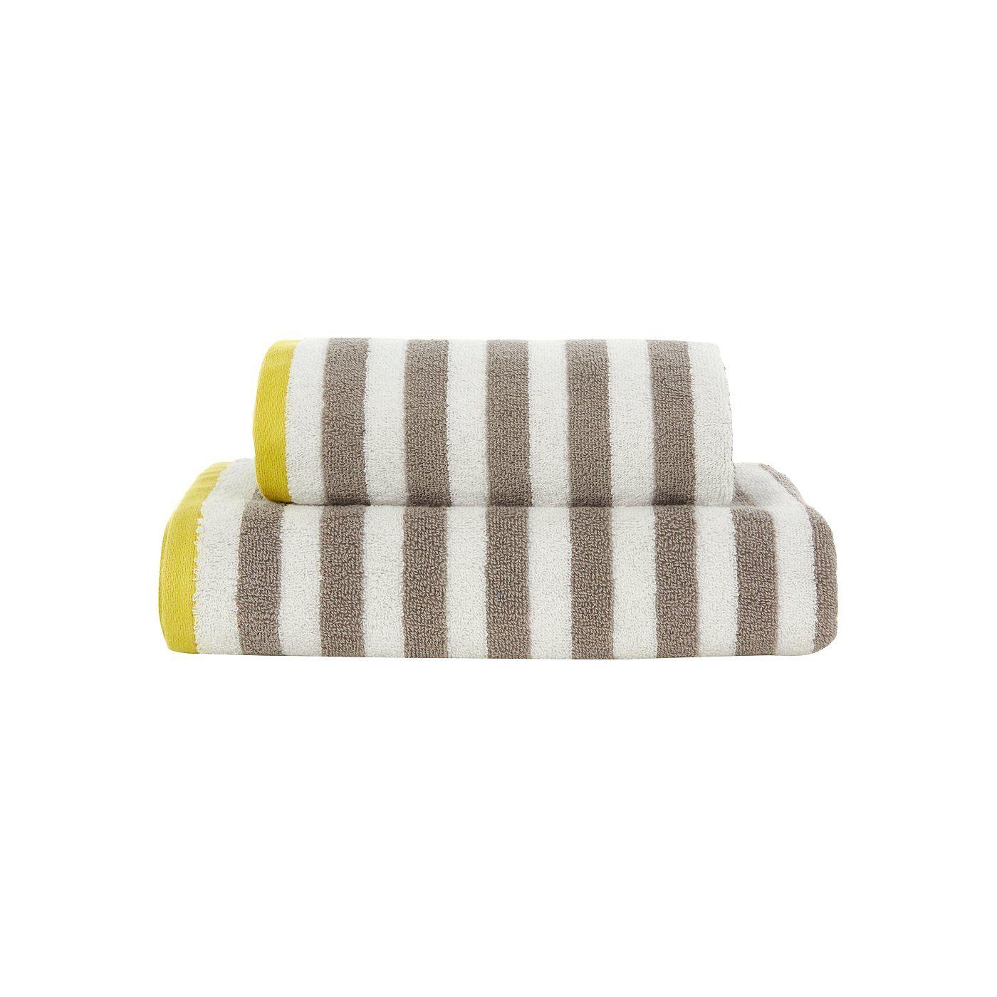 George Home Grey and Yellow Stripe Towel Range | Towels & Bath Mats | ASDA  direct
