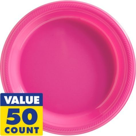 Bright Pink Plastic Dinner Plates 50ct - Party City  sc 1 st  Pinterest & Bright Pink Plastic Dinner Plates 50ct - Party City | shelle like ...