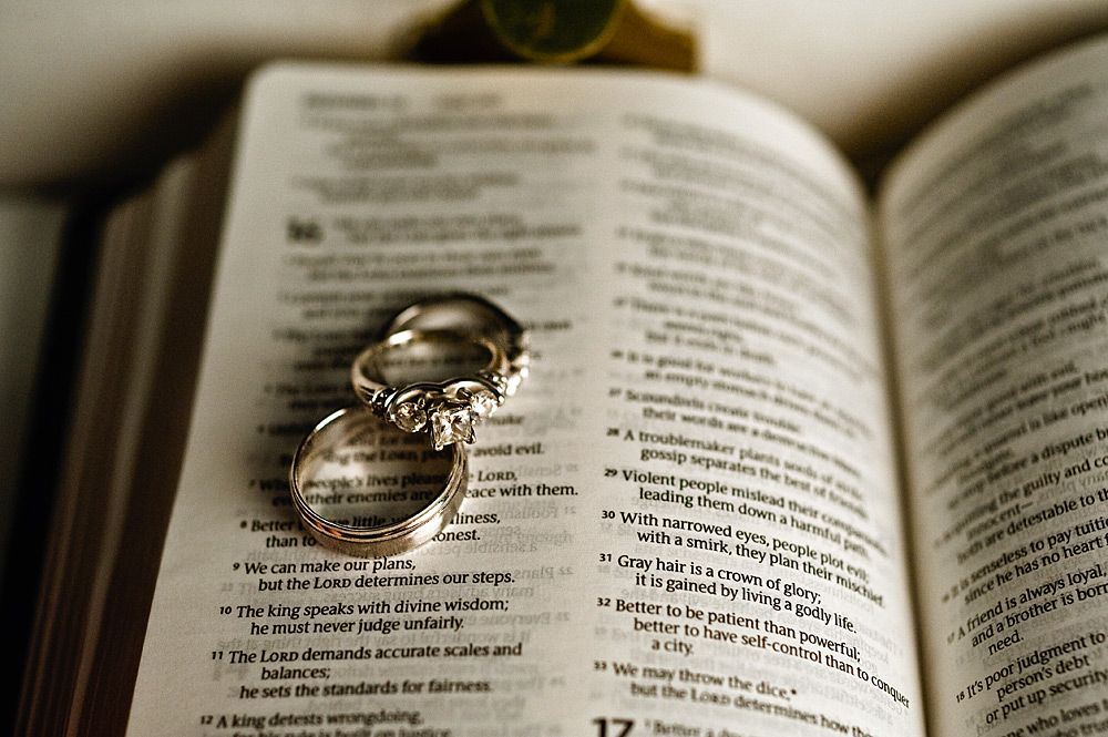 Photo of the wedding rings with your favorite Bible verse