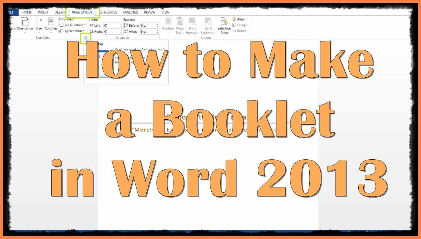 how to make a booklet in word 2007
