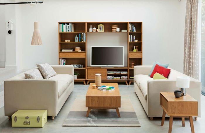 Awesome Kleine Zimmer Einrichten Helle Sofas Wohnwand Beistelltisch Check  More At Http://newhearmodels