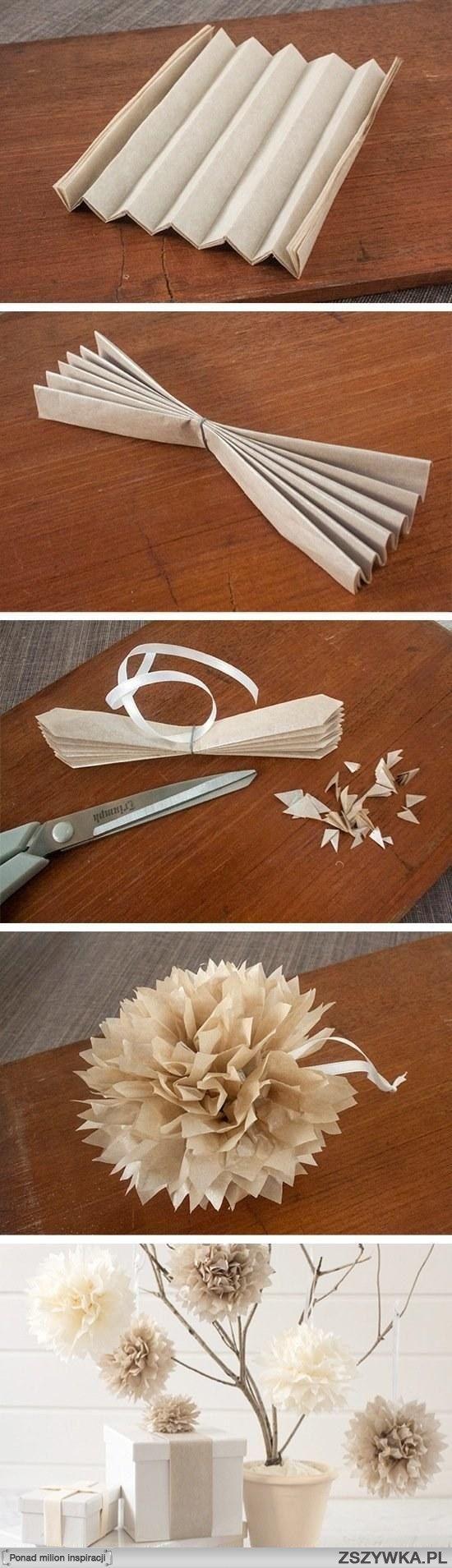 Kwiaty Na Pomysly Zszywka Pl Tissue Paper Pom Poms Diy Christmas Diy Paper Flowers