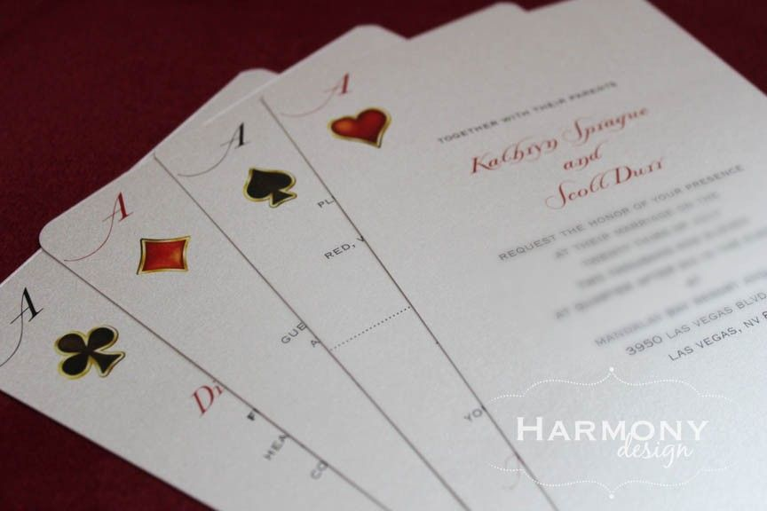 Las Vegas Deck of Cards Invitation DoubleSided