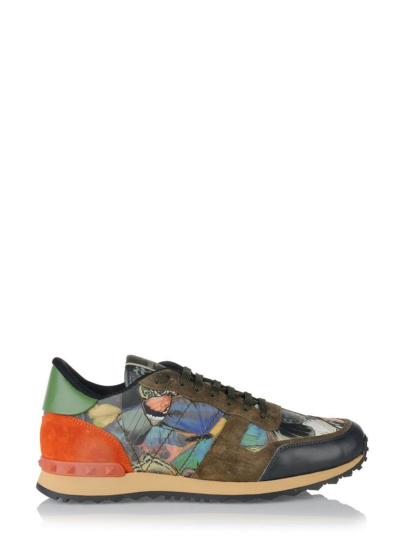 6cf8a9aef24fb Brown leather and suede 'Rockrunner' sneakers from Valentino Garavani  featuring an almond toe, a lace-up front fastening, a brand embossed  tongue, ...