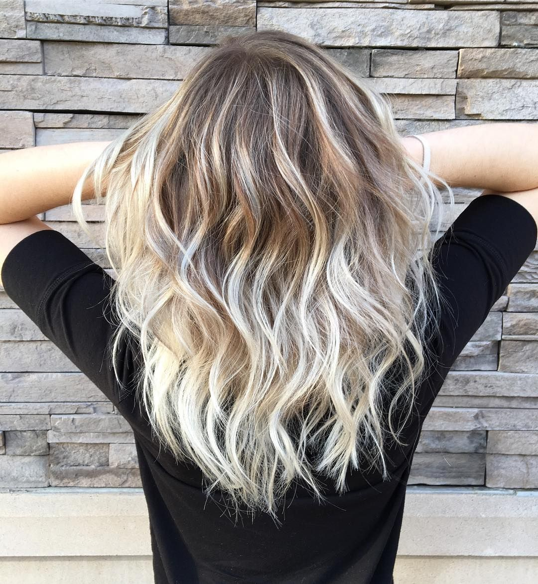 Vanilla Blonde Balayage Color Melt For Wavy Dark Blonde Hair
