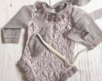 Cod 10Newborn Romper Prop;Slate gray, Lace Girl Romper, Lace Romper ;  Newborn Overall Prop; Newborn Photo Prop;…