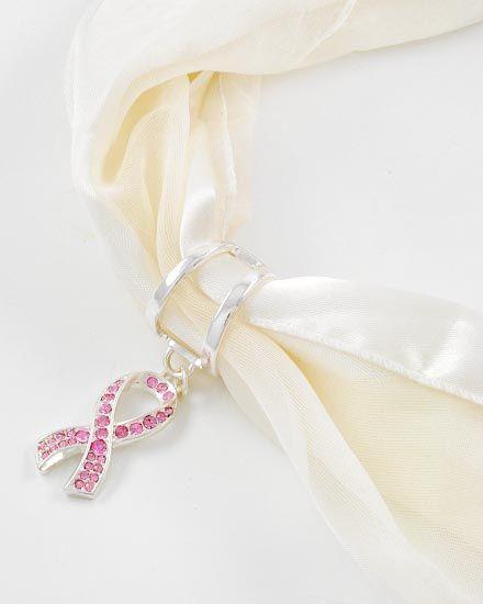 Silver Tone / Pink Rhinestone / Lead Compliant / Pink Ribbon / Scarf Accessory