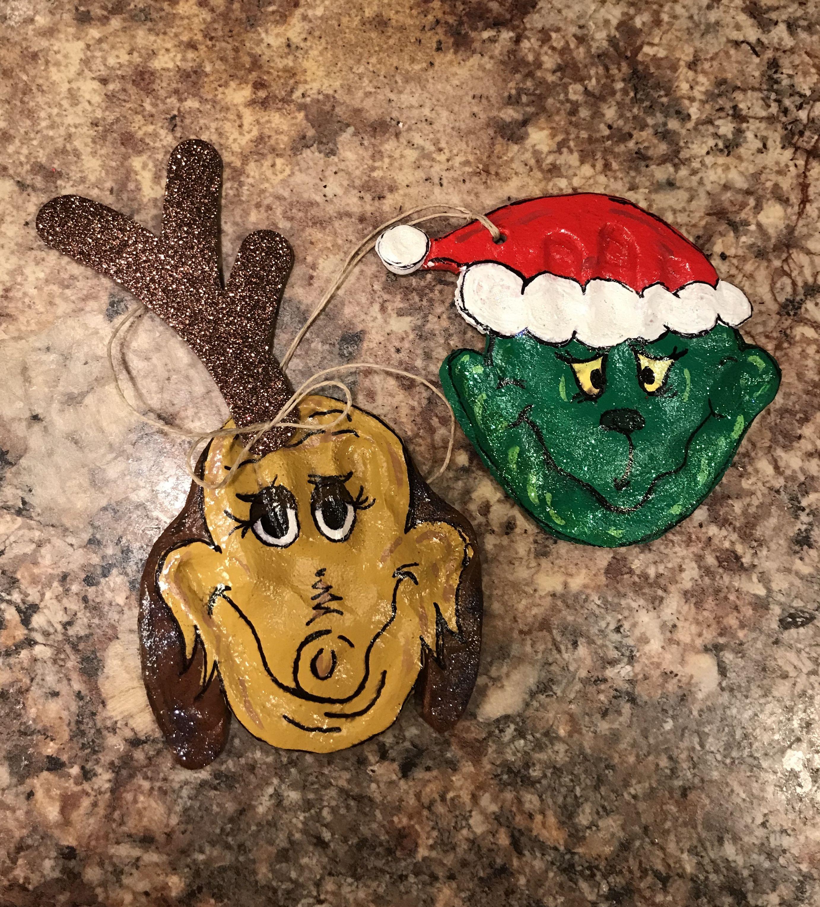 The Grinch And Max Handprint Salt Dough Ornaments Grinch Ornaments Salt Dough Ornaments Handprint Ornaments
