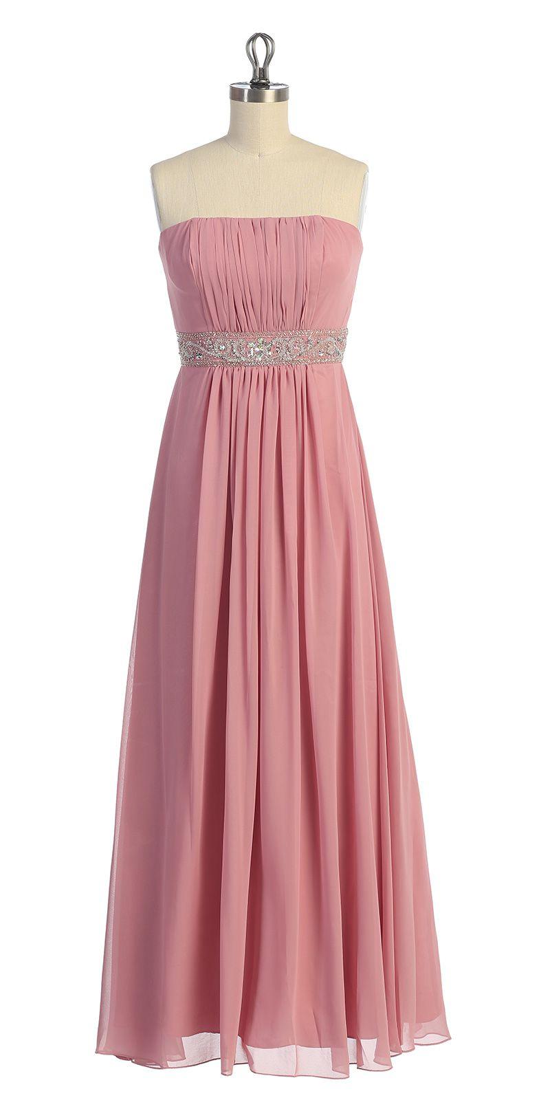 Dusty rose chiffon strapless gathered beaded long dress dldr