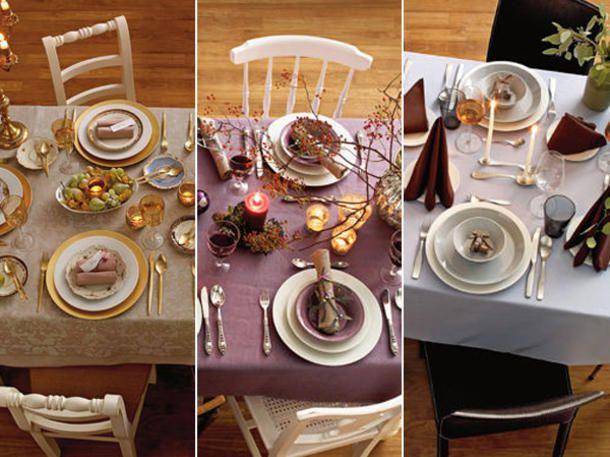 Wir haben drei verschiedene Weihnachtstafeln gestaltet: klassisch in Gold, fruchtig in Lila und modern-elegant in Naturtönen.