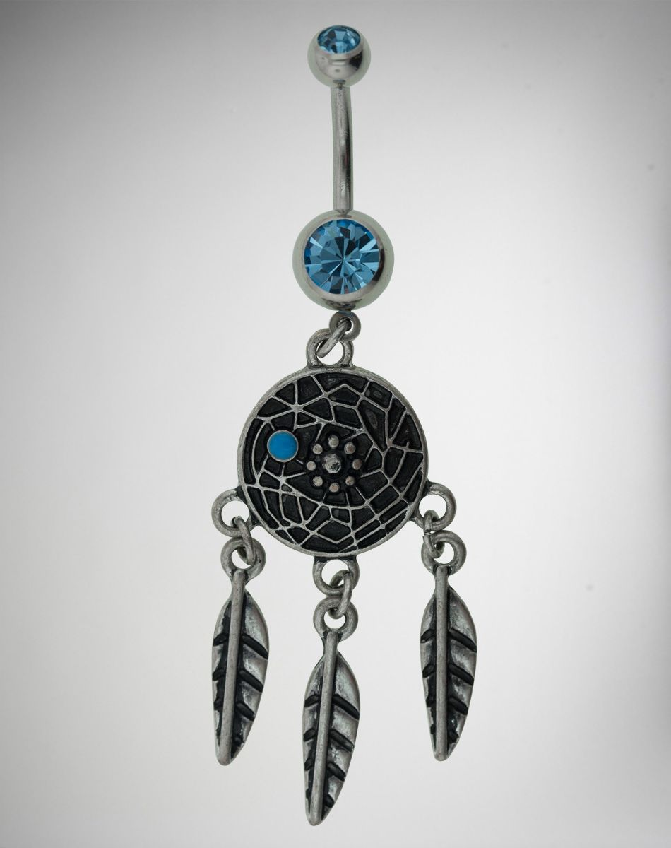 Piercing on belly  Blue Gem Dream Catcher Belly Button Ring  Belly Piercing