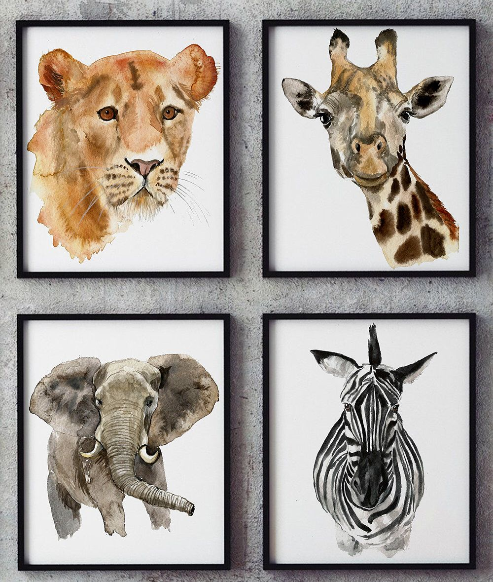 Baby Animal Nursery Wall Art Prints Printable Watercolor Animal