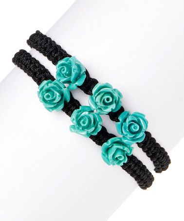 Love this Turquoise Flower Trio Adjustable Bracelet Set on #zulily! #zulilyfinds