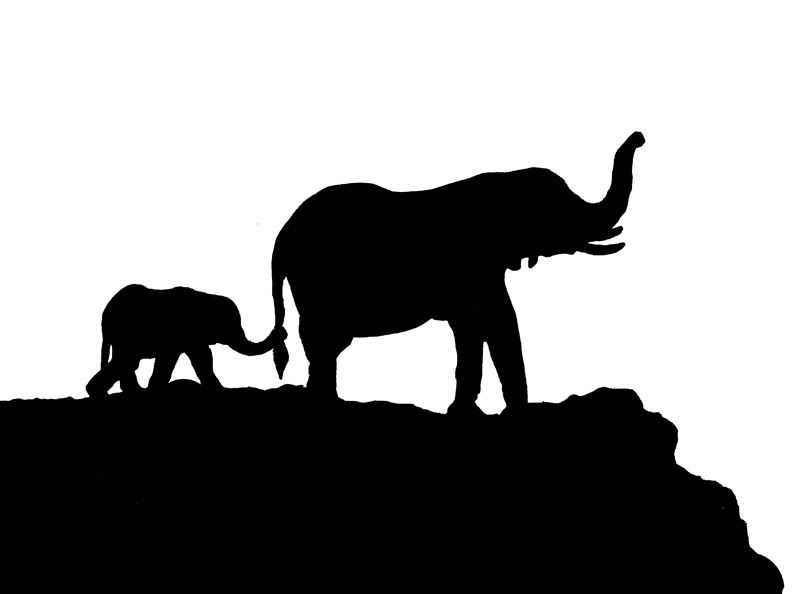 elephants stencils - Google Search | * Animal Silhouettes ...