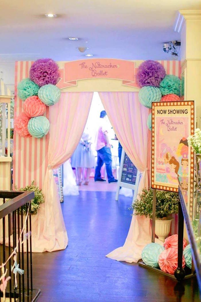 Curtain Entrance From A Nutcracker Ballerina Birthday Party On Karas Ideas