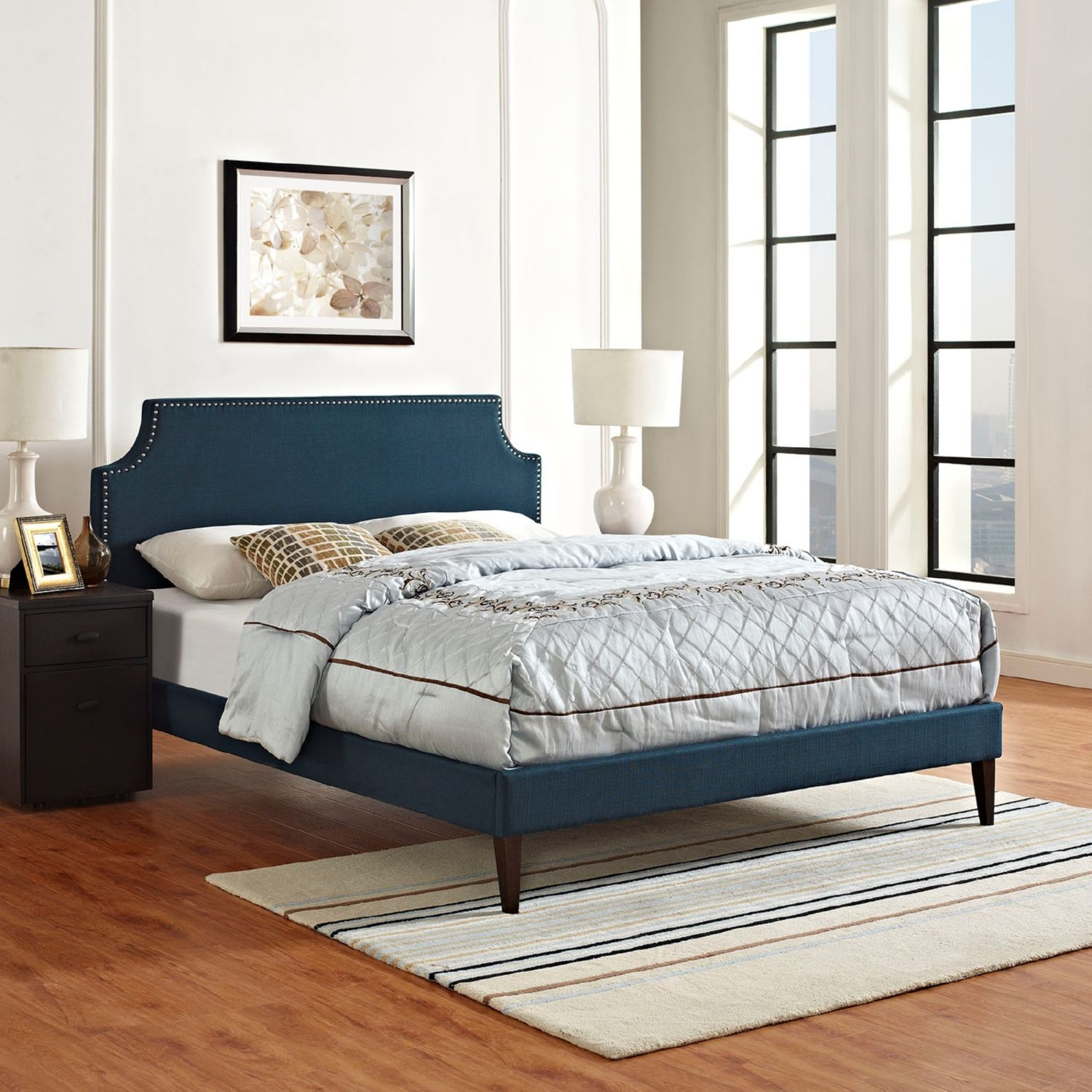 Modway Furniture 5681 Navy Blue Queen Fabric Platform Bed Frame