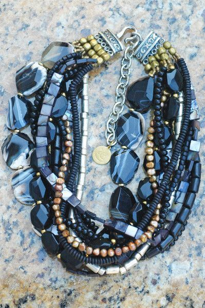 Elegant Black Agate Slab, Gold and Silver Statement Choker Necklace,  #Agate #black #Choker #diysilvernecklakeinspiration #elegant #Gold #Necklace #Silver #Slab #statement