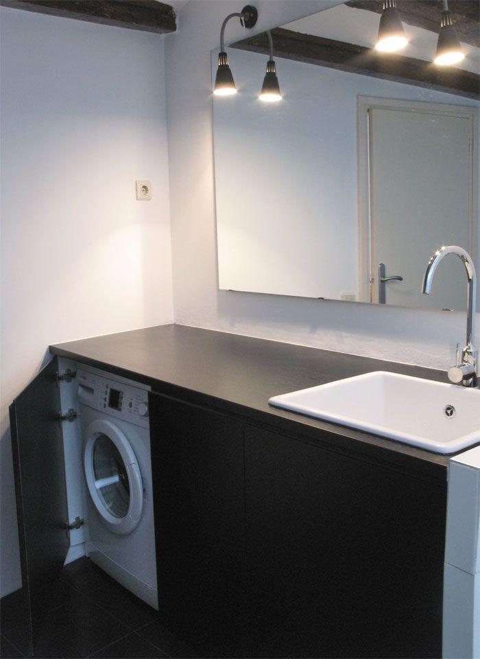 Mueble de ba o lacado con lavadora escondida ba os - Instalar lavadora en bano ...