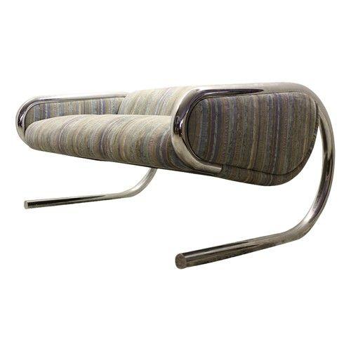 Roger Sprunger Mid Century Modern Chrome Tubular Sling ...