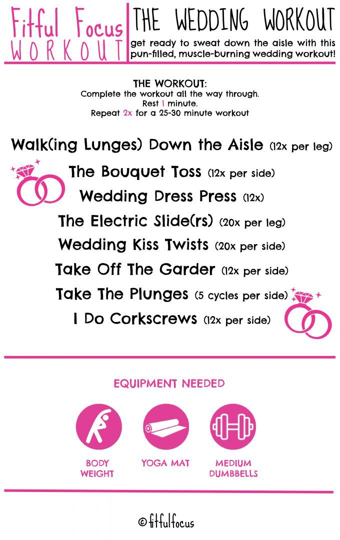 The Wedding Workout Wedding Workout Wednesday Workout At Home Workouts