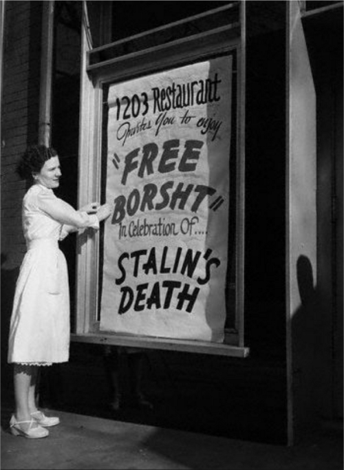 Ukrainian immigrants in the United States offer free borscht to celebrate Stalin's death