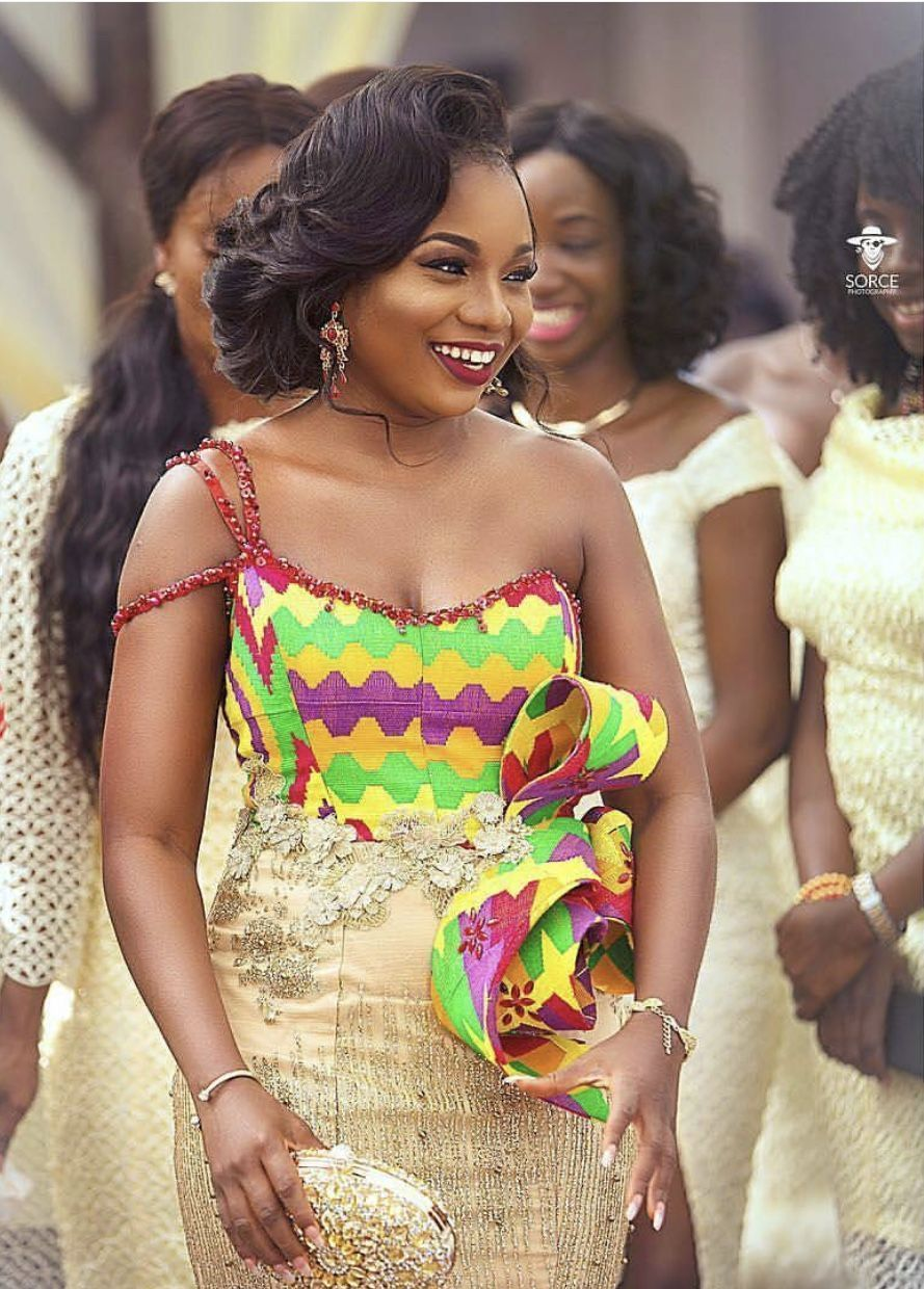 Ghana lace dress styles  Simply stunning Ghanaian kente with lace donut care for the sash