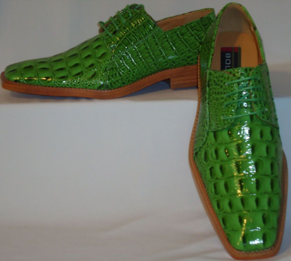 mens bright neon lime green croco look dress shoes