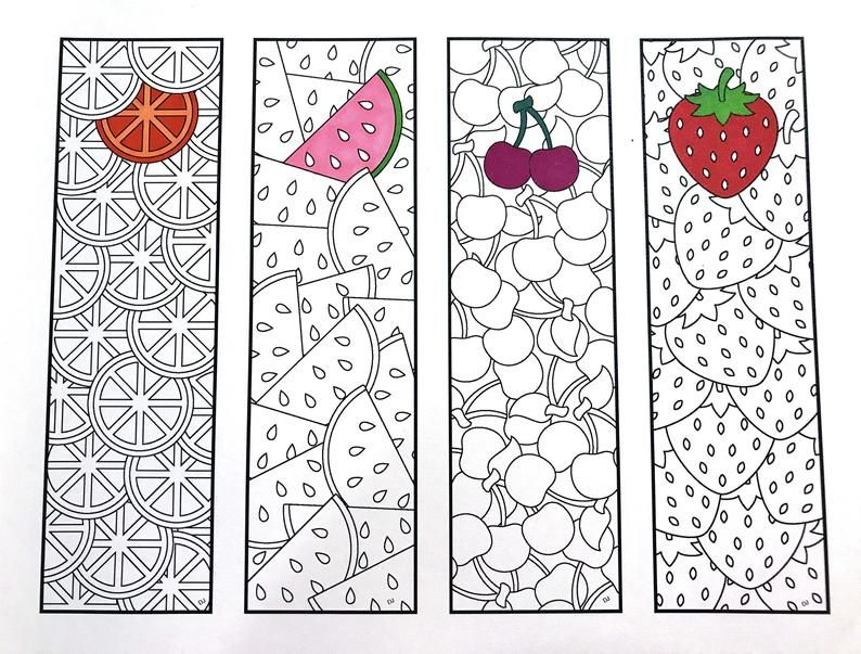 Fruit Bookmarks PDF Zentangle Coloring Page Etsy in 2020